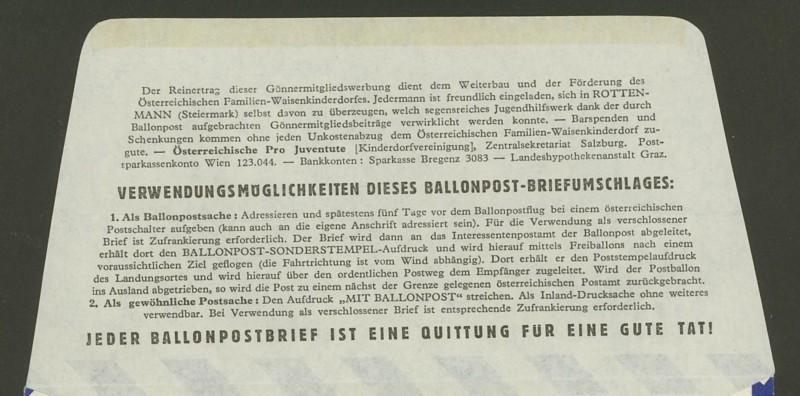 Die Privatganzsachen der österreichischen Ballonpost Ballon38