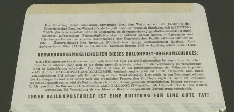 Die Privatganzsachen der österreichischen Ballonpost Ballon40