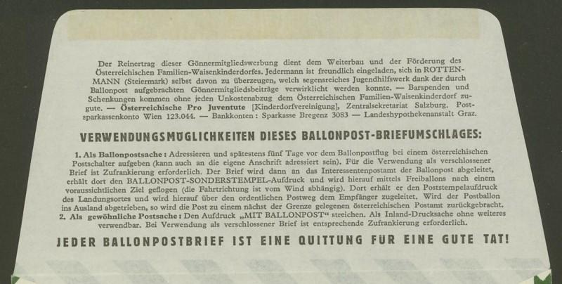 Die Privatganzsachen der österreichischen Ballonpost Ballon42