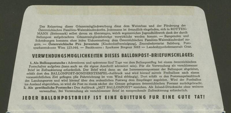 Die Privatganzsachen der österreichischen Ballonpost Ballon44