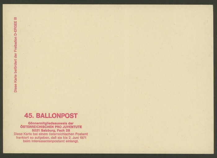 Die Privatganzsachen der österreichischen Ballonpost Ballon53