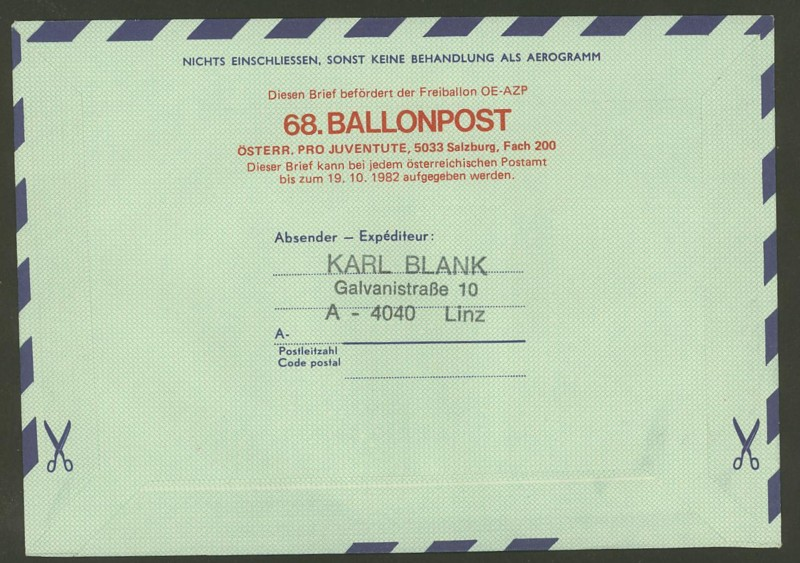 Die Privatganzsachen der österreichischen Ballonpost Ballon61