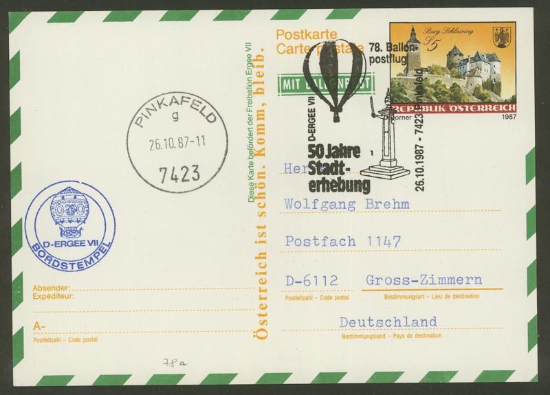 Die Privatganzsachen der österreichischen Ballonpost Ballon68