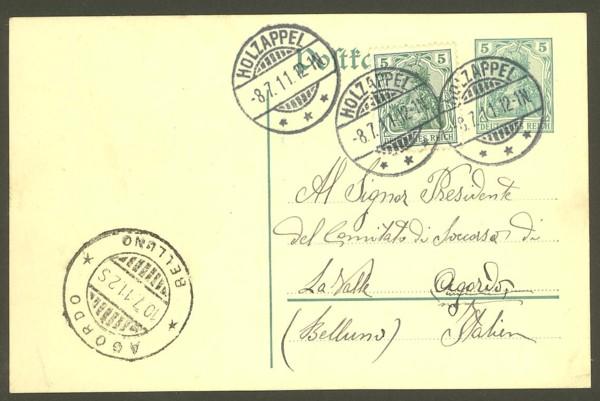 Rundstempel des Deutschen Reiches auf Karte oder Brief Holzap10