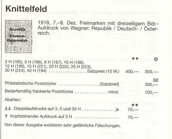Deutsch-Öst Marke mit nicht katalogisiertem Aufdruck Knitte10