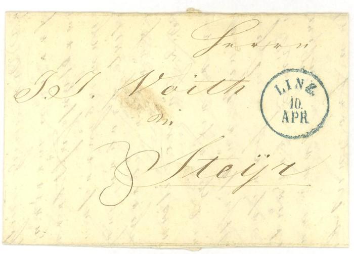 Vorphilatelie Österreich  -   Briefe aus der Vormarkenzeit Linz-s10
