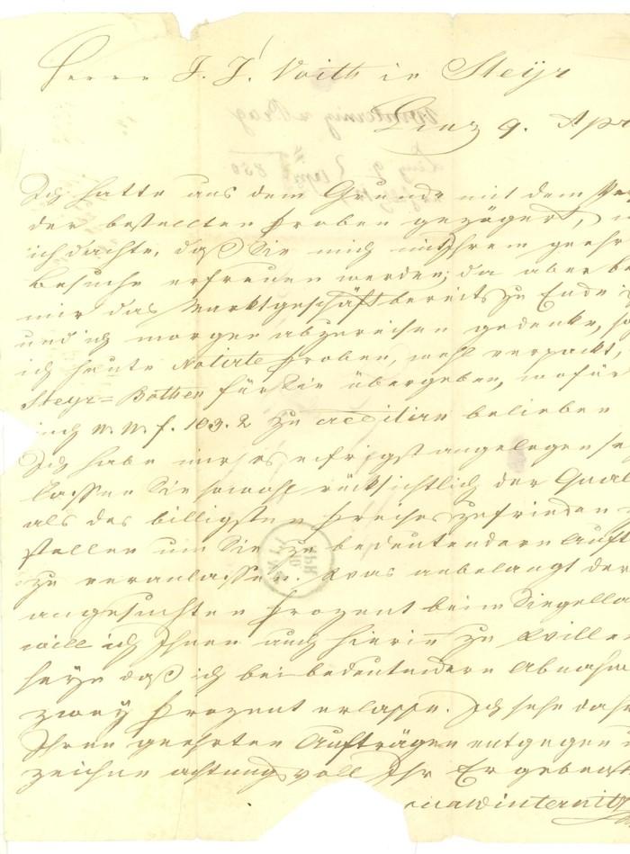 Vorphilatelie Österreich  -   Briefe aus der Vormarkenzeit Linz-s12