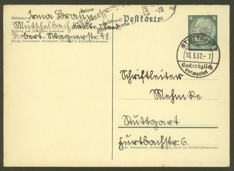 Nachträglich entwertet   -   Stempel aus Deutschland Nachtr10