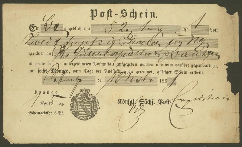 Postscheine aus Sachsen Postsc10