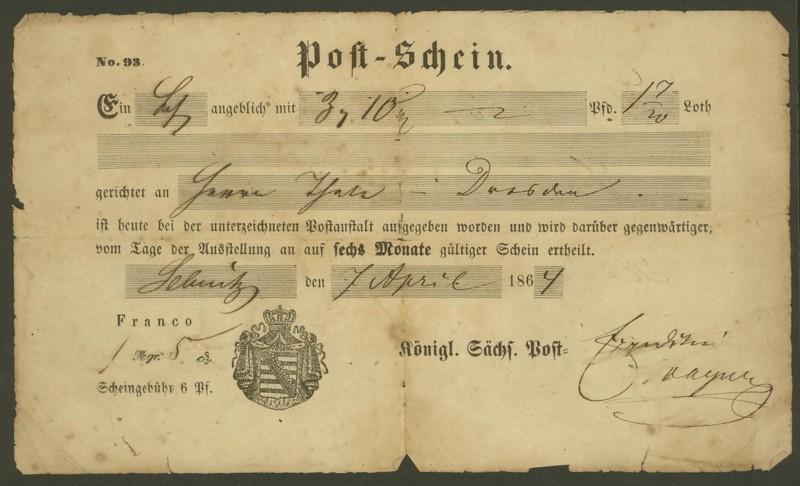 Postscheine aus Sachsen Postsc11