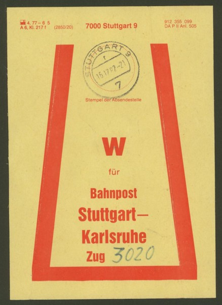 Beutelfahnen der Bahnpost Stuttg11