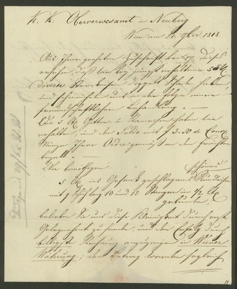 Nachtrag - Vorphilatelie Österreich  -   Briefe aus der Vormarkenzeit Wien_n12