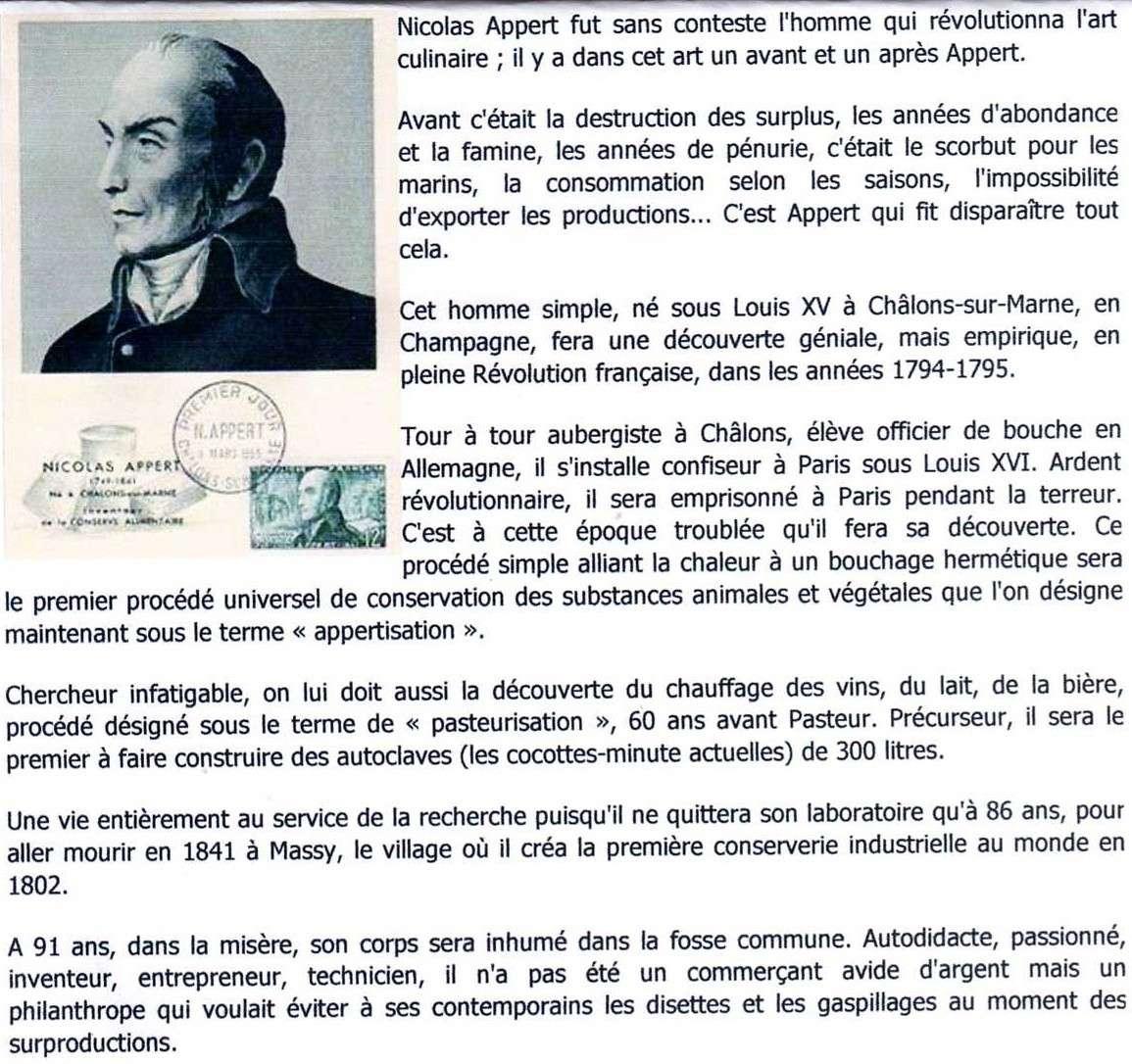 """Nicolas APPERT, """"inventeur"""" de la Boite de Conserve Appert10"""