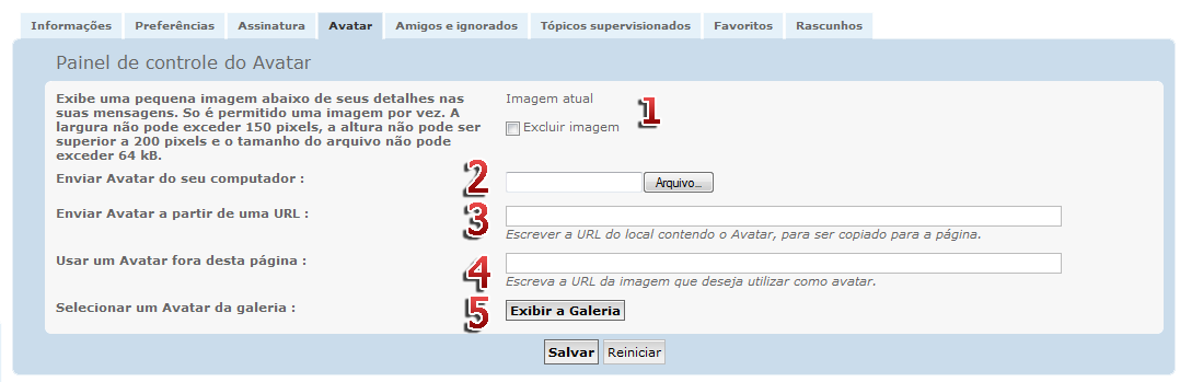 [FAQ] Gerenciar os avatares do fórum Avatar14
