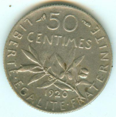 3éme république - 50 centiimes semeuse 1920 argnet 50ct1910
