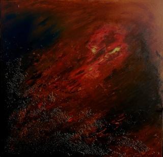 Toile abstraite matière+acrylique Dragon10
