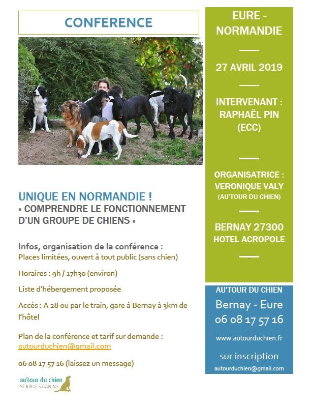 """Conférence """"comprendre le fonctionnement d'un groupe de chiens"""" 27 avril 2019 Normandie Affich10"""