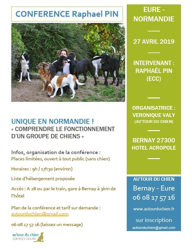 """Conférence """"comprendre le fonctionnement d'un groupe de chiens"""" 27 avril 2019 Normandie Affich11"""