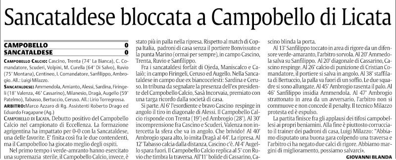 Campionato 1° giornata:Campobello di Licata-Sancataldese 0-0 212
