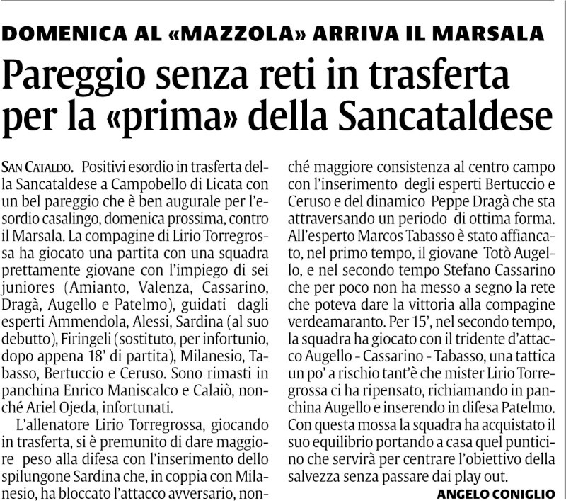 Campionato 1° giornata:Campobello di Licata-Sancataldese 0-0 311