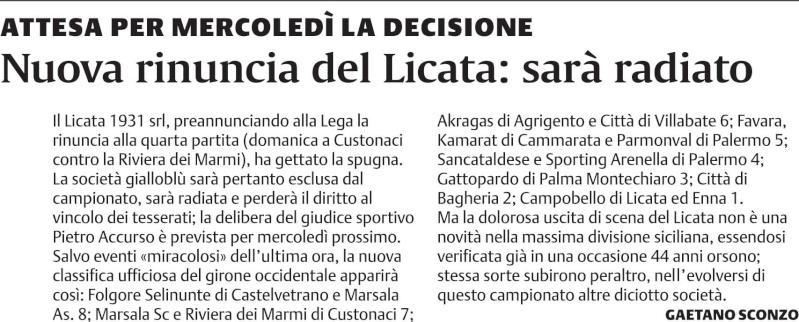 Il Licata radiato dal mondo del calcio siciliano Cat10