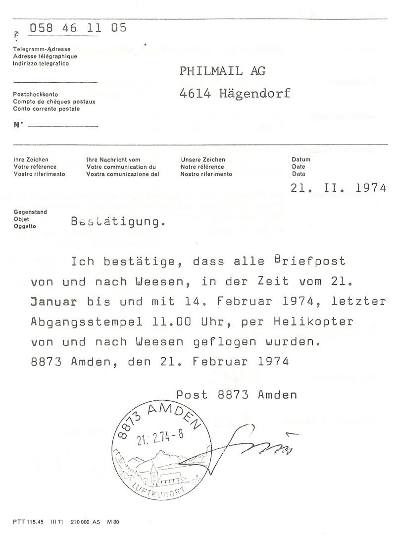 Helikopter Notpostflug Amden-Weesen 212