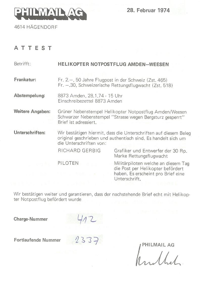 Helikopter Notpostflug Amden-Weesen 311