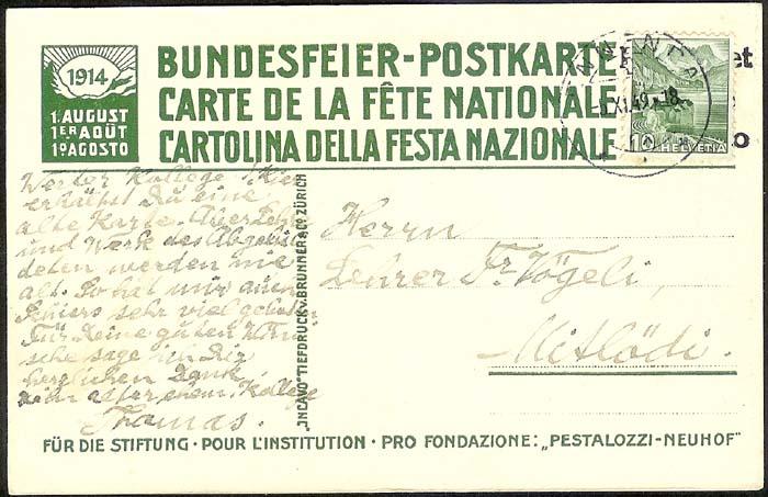 schweiz - Bundesfeierkarten Propat22