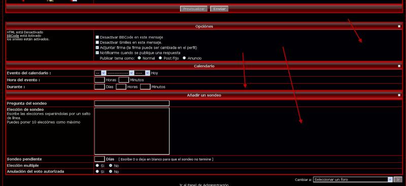 No aparecen opciones para publicar mensaje Opc210