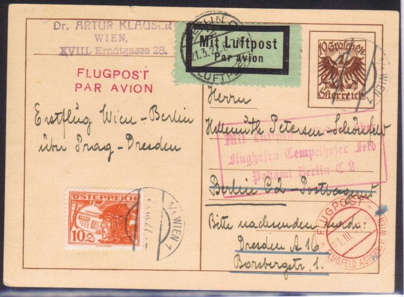 rwh's Luftpostsammlung Österreich erste Republik 1927_w10