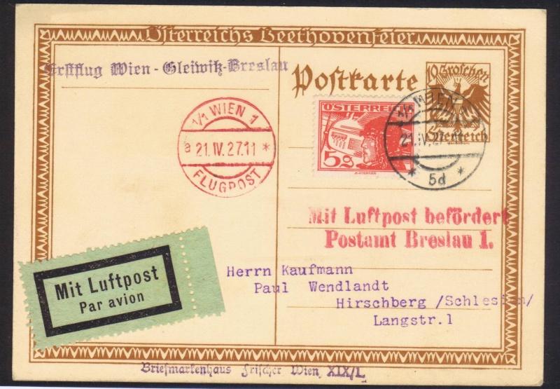 rwh's Luftpostsammlung Österreich erste Republik 1927_w11