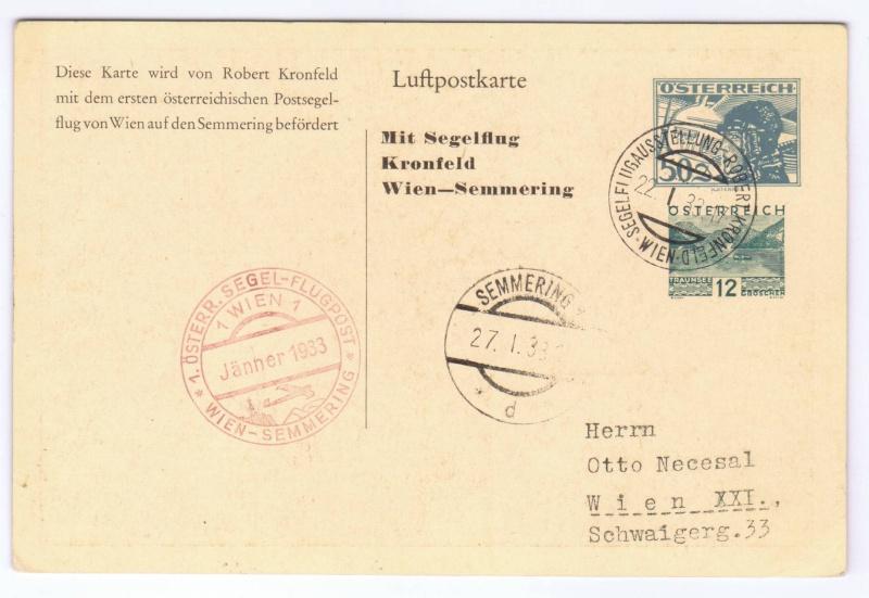 rwh's Luftpostsammlung Österreich erste Republik 1933_k13