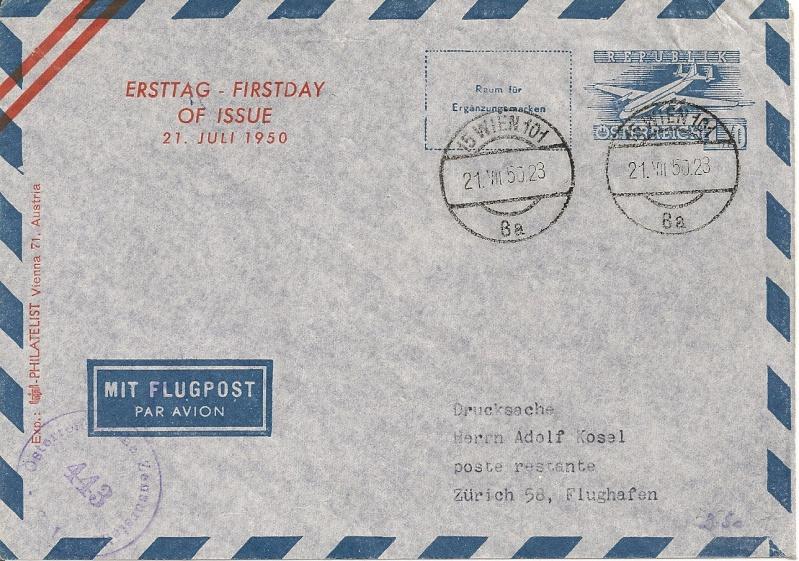 Zudrucke auf Aerogrammen von Österreich Aerogr16