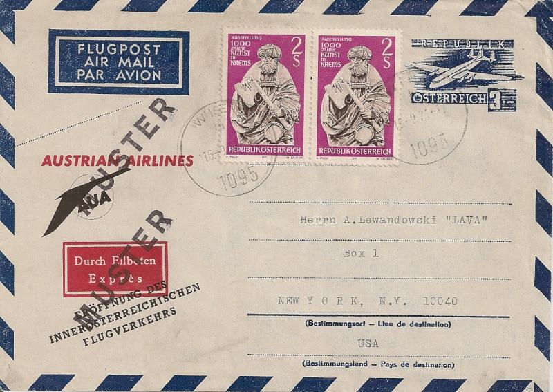 Zudrucke auf Aerogrammen von Österreich Aerogr29