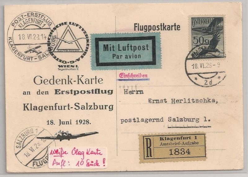 rwh's Luftpostsammlung Österreich erste Republik Klagen11