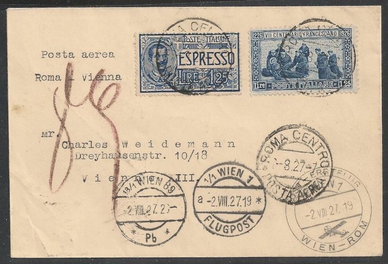 rwh's Luftpostsammlung Österreich erste Republik Rom-wi10