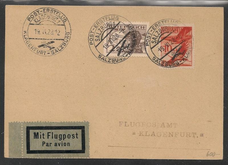 rwh's Luftpostsammlung Österreich erste Republik Salzbu10