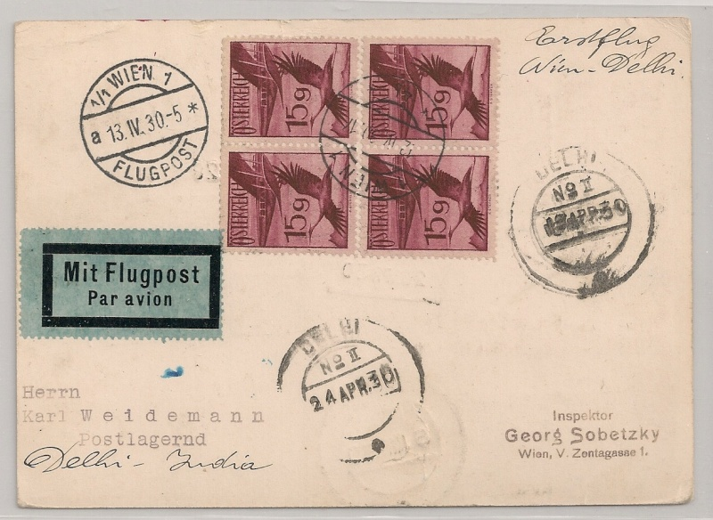 rwh's Luftpostsammlung Österreich erste Republik Wien-d11