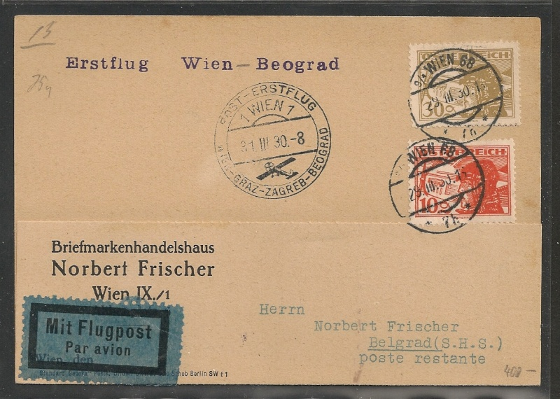 rwh's Luftpostsammlung Österreich erste Republik - Seite 2 Wien_b10