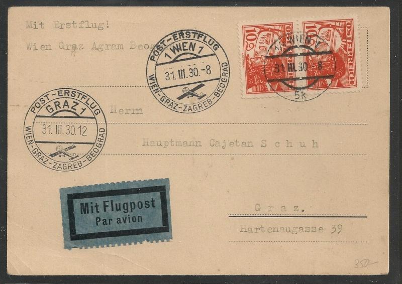 rwh's Luftpostsammlung Österreich erste Republik Wien_g11