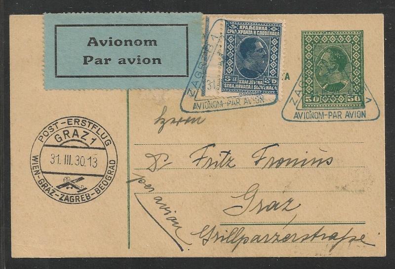 rwh's Luftpostsammlung Österreich erste Republik - Seite 2 Zagreb12