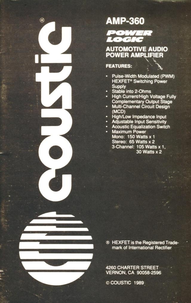 Coustic Amp-360 Power Logic power amp (Used) Manual12
