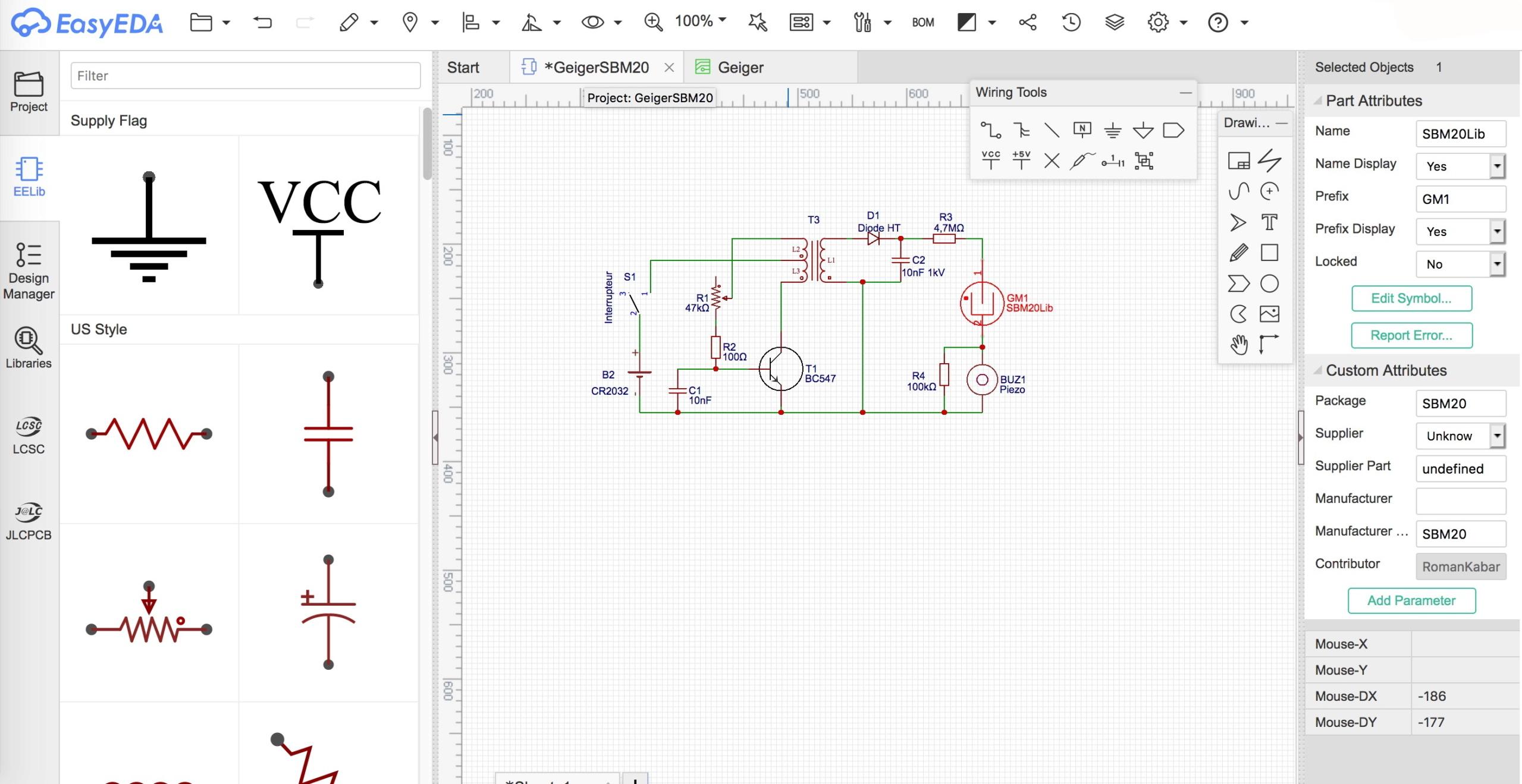EasyEDA : Petit outil d'édition de schémas électroniques, PCB et routage. Interf10