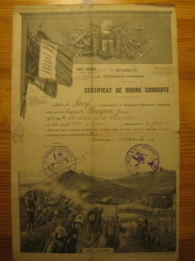 CERTIFICAT DE BONNE CONDUITE 7éme R.I.C. // 1919 ESC - NOV 1// PRIX BAISSE// VENDU! Img_0014