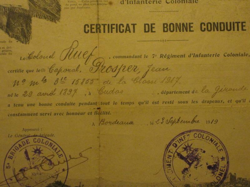 CERTIFICAT DE BONNE CONDUITE 7éme R.I.C. // 1919 ESC - NOV 1// PRIX BAISSE// VENDU! Img_0015