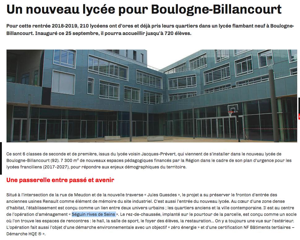 Informations sur le lycée du trapèze Captur11
