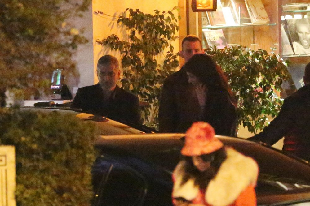 George Clooney looks dapper as he leaves romantic dinner with wife Amal and hops into a taxi in Hollywood   92624710