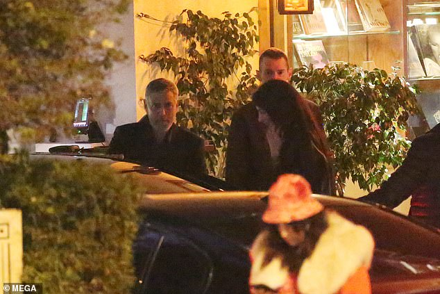 George Clooney looks dapper as he leaves romantic dinner with wife Amal and hops into a taxi in Hollywood   95649410