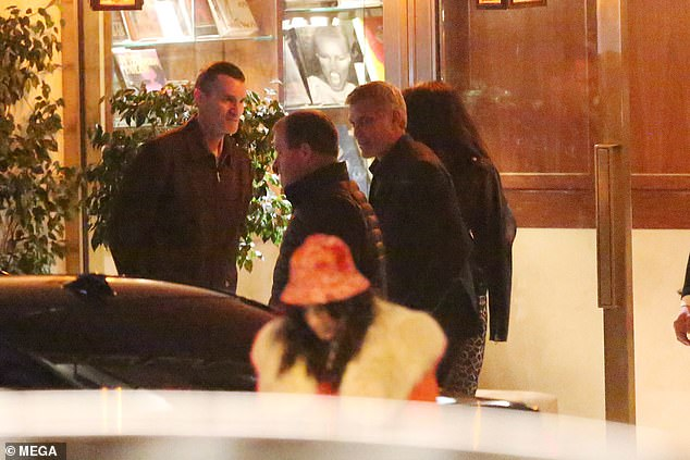 George Clooney looks dapper as he leaves romantic dinner with wife Amal and hops into a taxi in Hollywood   95649510
