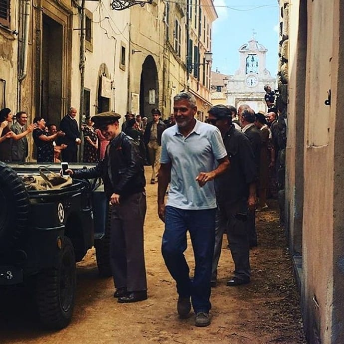 George Clooney filming in Rome Nerone10